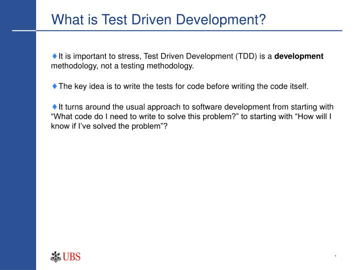 What is test driven development