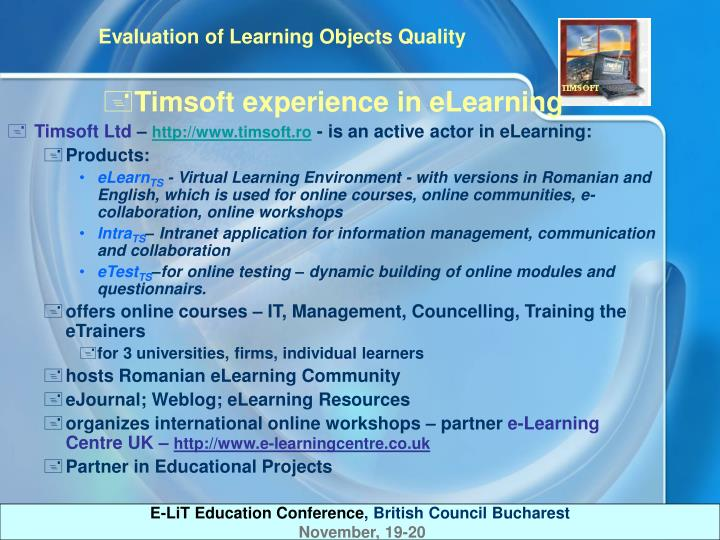 Timsoft experience in eLearning
