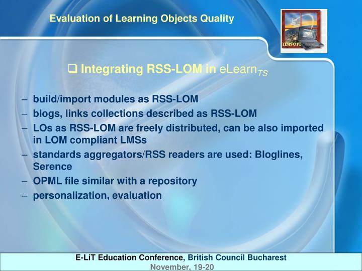Integrating RSS-LOM in