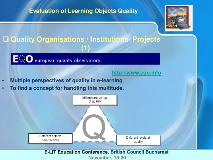 Quality Organisations / Institutions/ Projects (1)