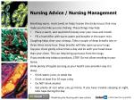 nursing advice nursing management
