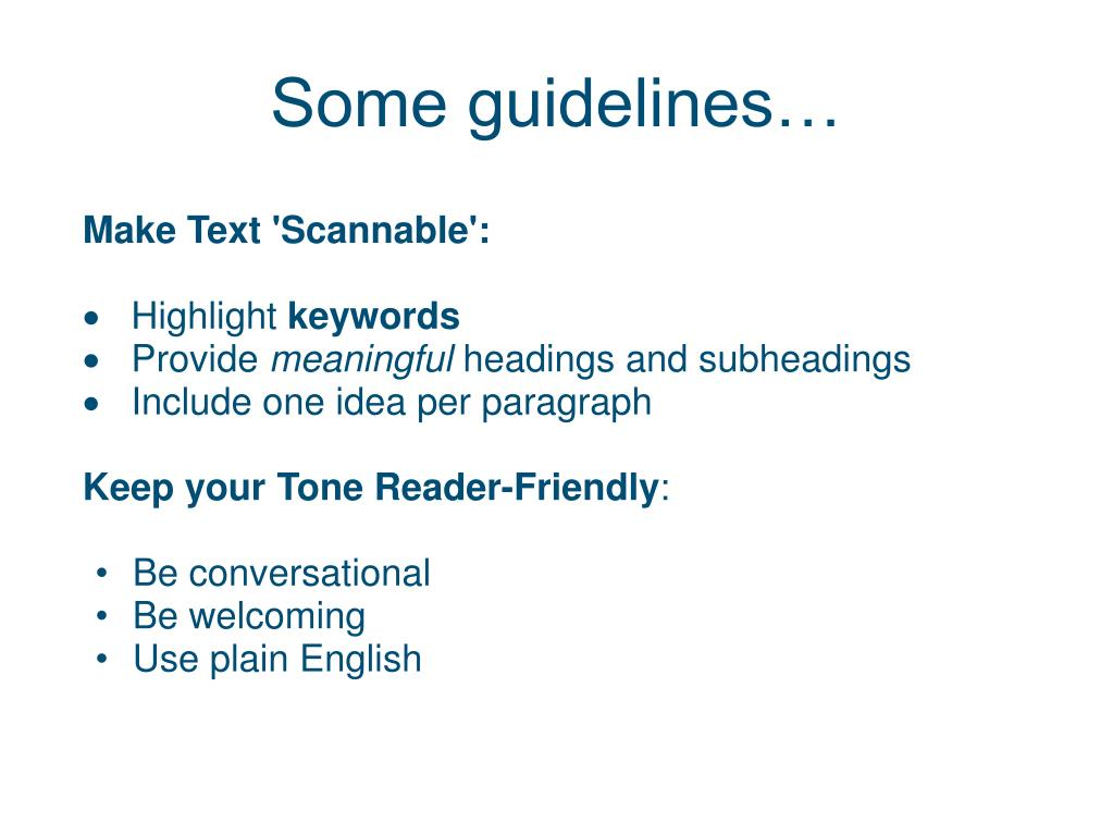 Some guidelines…