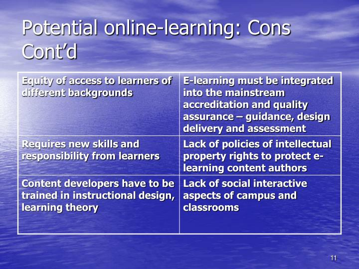 Potential online-learning: Cons Cont'd