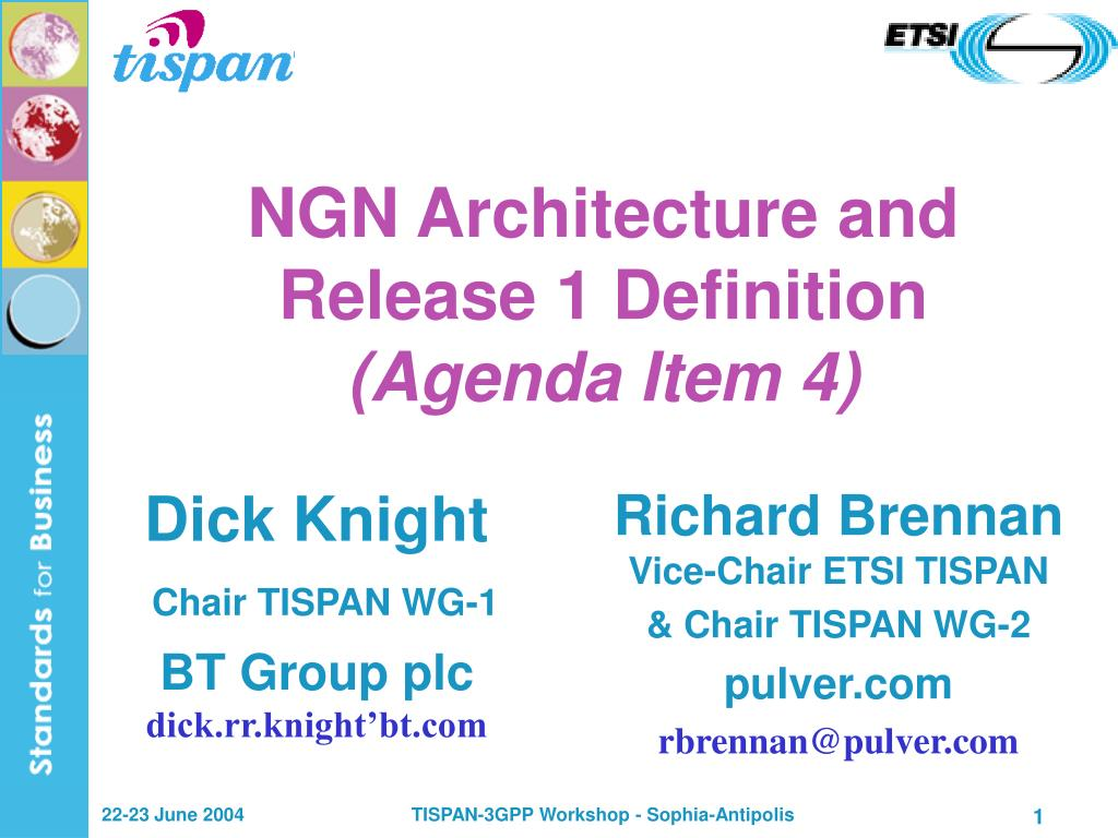 ngn architecture and release 1 definition agenda item 4 l.