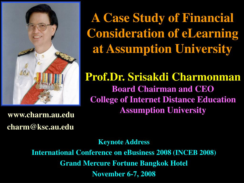 a case study of financial consideration of elearning at assumption university l.