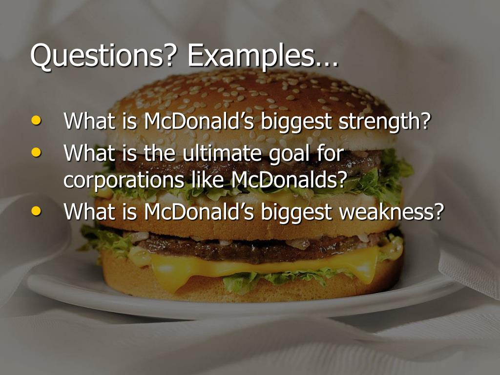 Questions? Examples…