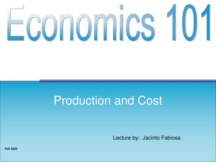 production and cost n.