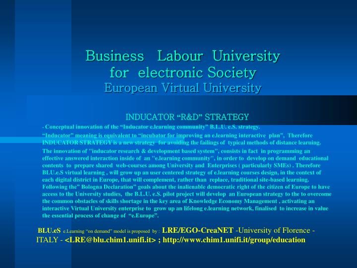 business labour university for electronic society european virtual university n.