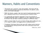 manners habits and conventions