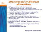 effectiveness of different alternatives