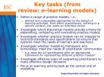 key tasks from review e learning models