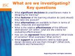what are we investigating key questions