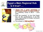 egypt a main regional hub is it true