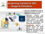 elearning content udl usage utilization