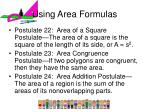 using area formulas