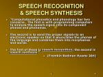 speech recognition speech synthesis