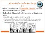 manner of articulation stops