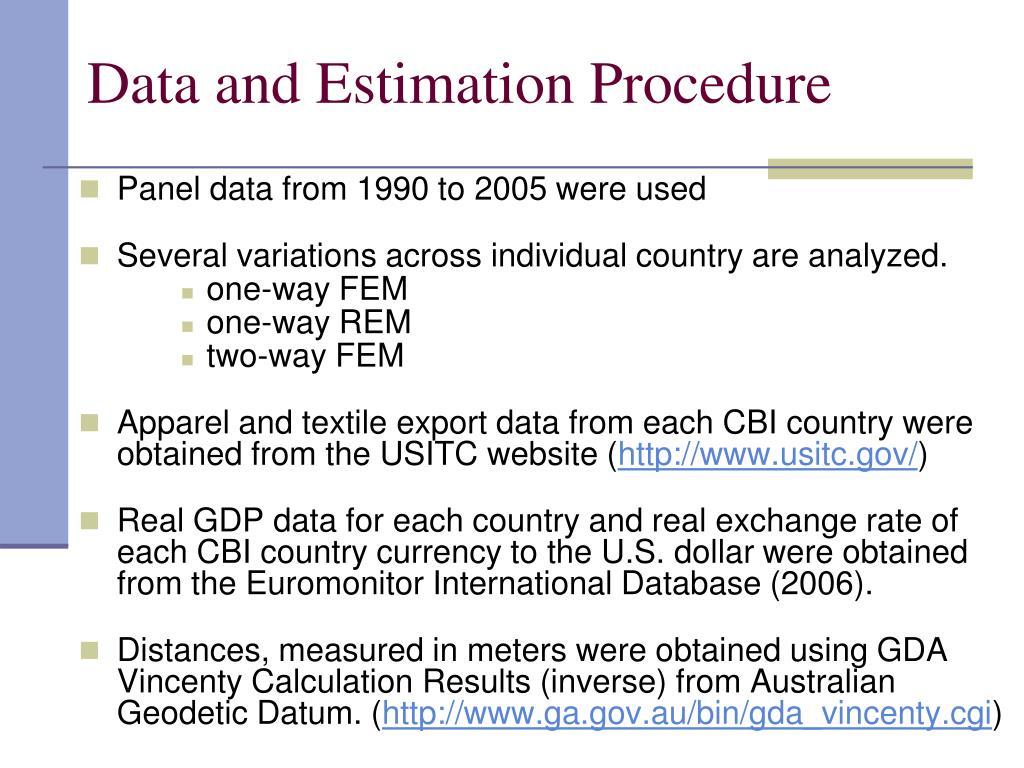 Data and Estimation Procedure