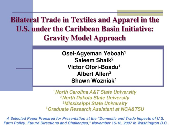 Bilateral Trade in Textiles and Apparel in the U.S. under the Caribbean Basin Initiative: