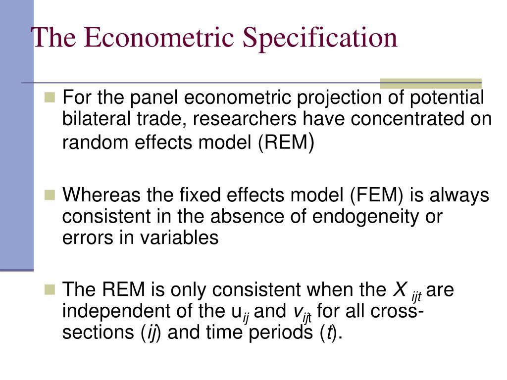 The Econometric Specification