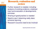 research evaluation and review