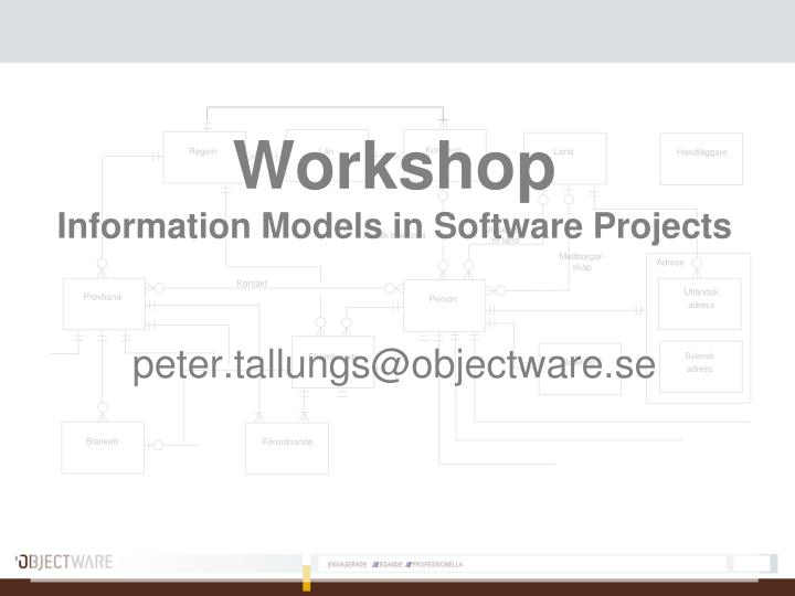 workshop information models in software projects peter tallungs@objectware se n.