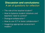 discussion and conclusions a set of questions for reflection