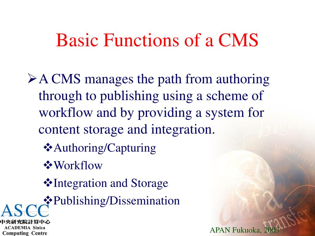 Basic Functions of a CMS