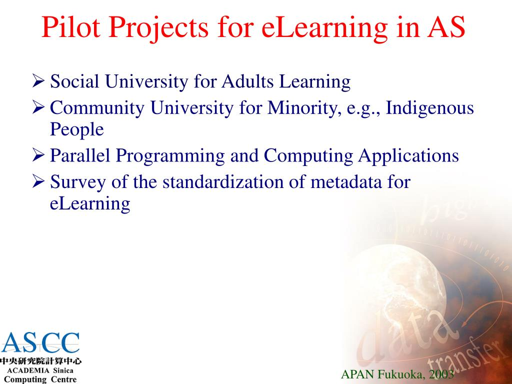 Pilot Projects for eLearning in AS