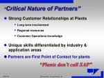 critical nature of partners