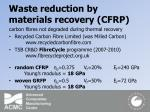 waste reduction by materials recovery cfrp