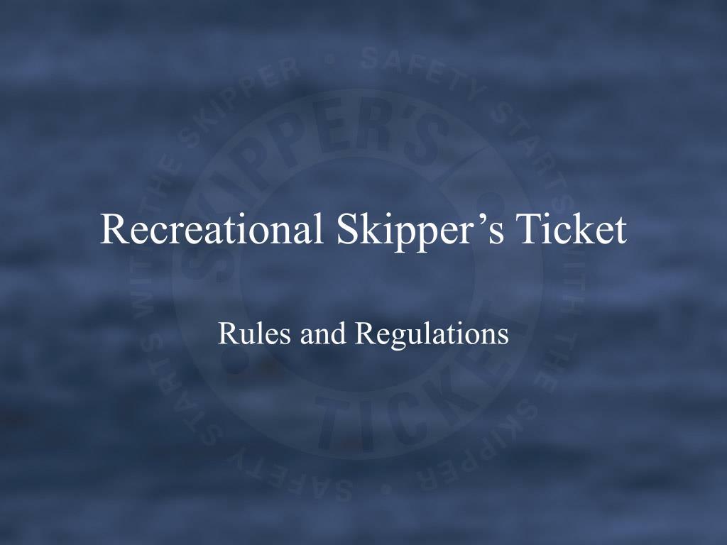 recreational skipper s ticket l.