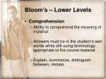 bloom s lower levels11