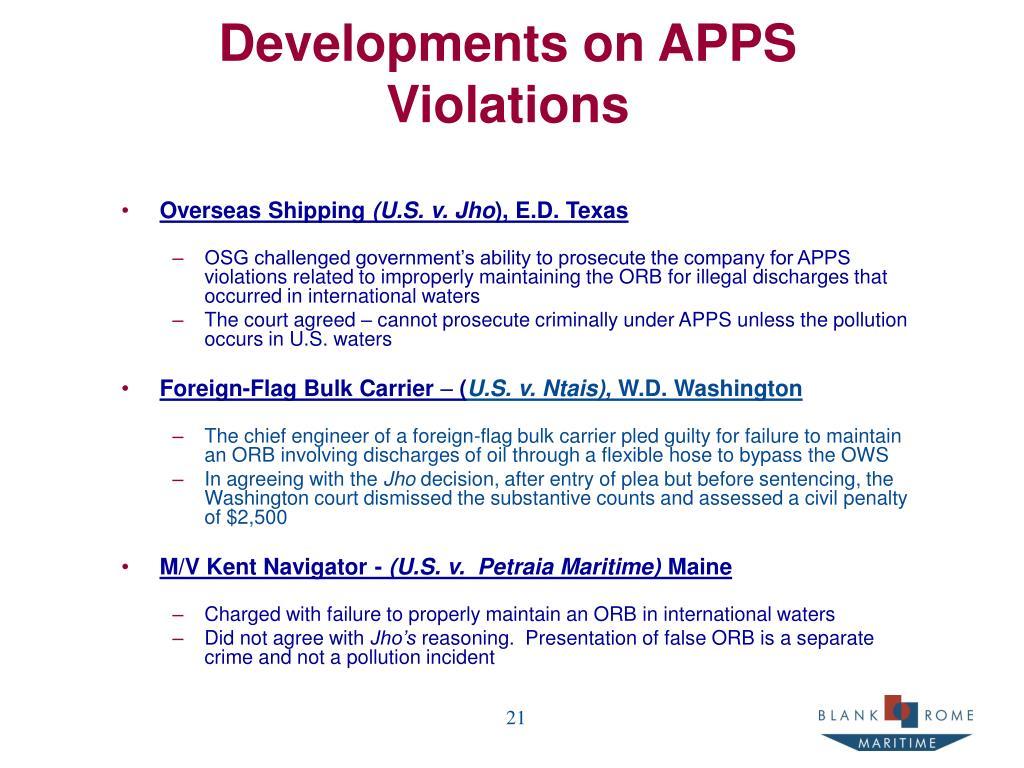 Developments on APPS Violations