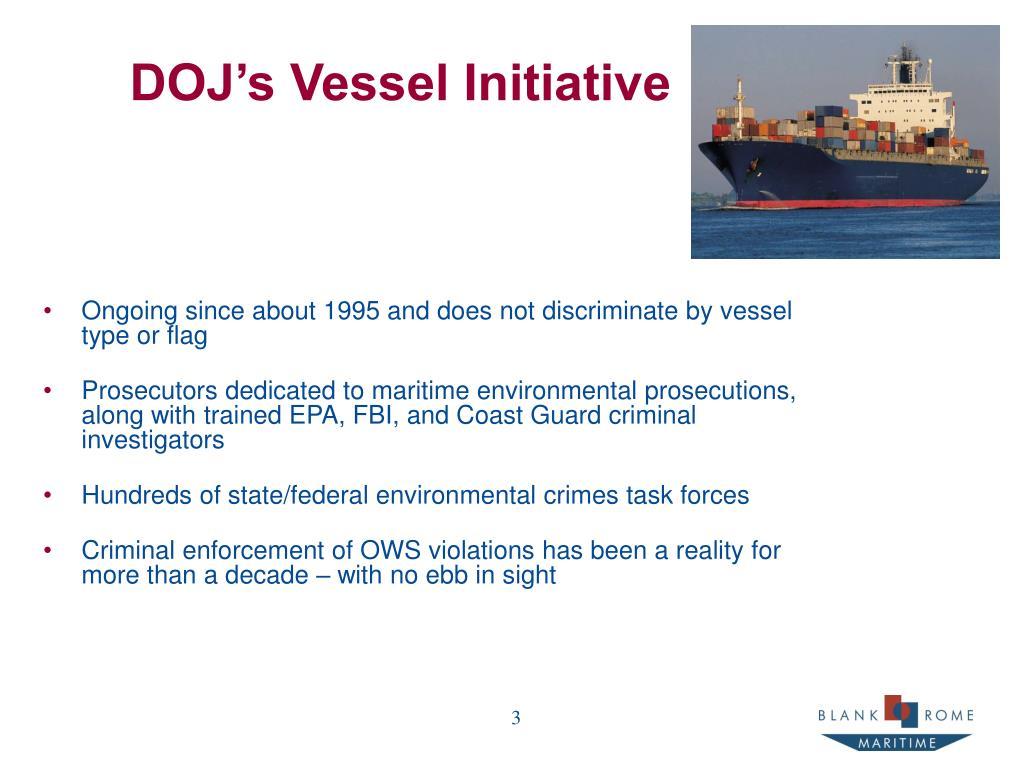 DOJ's Vessel Initiative