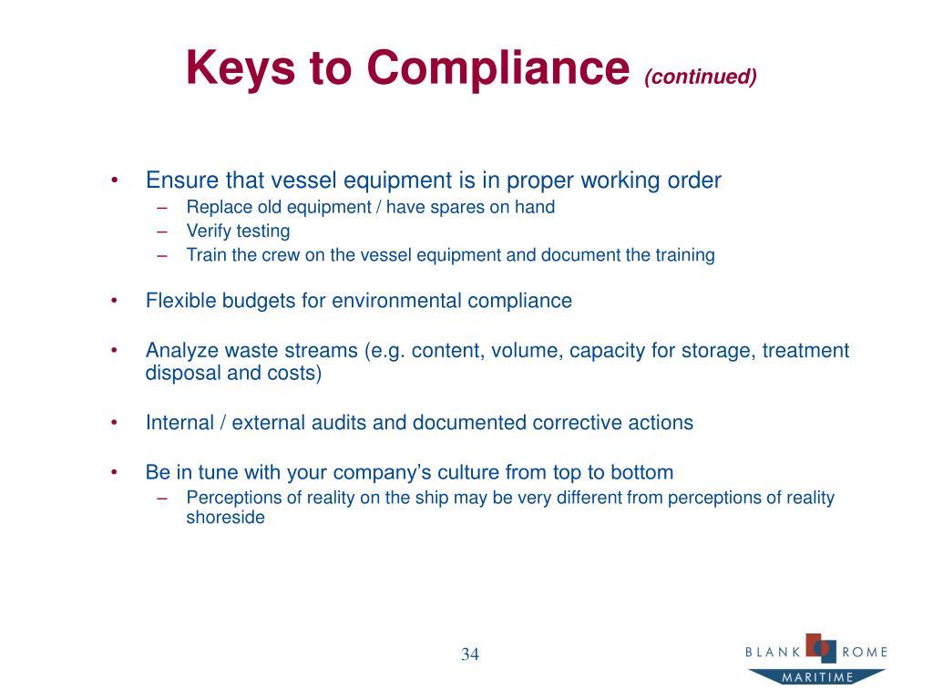 Keys to Compliance