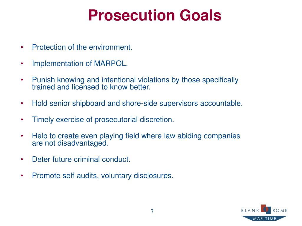 Prosecution Goals