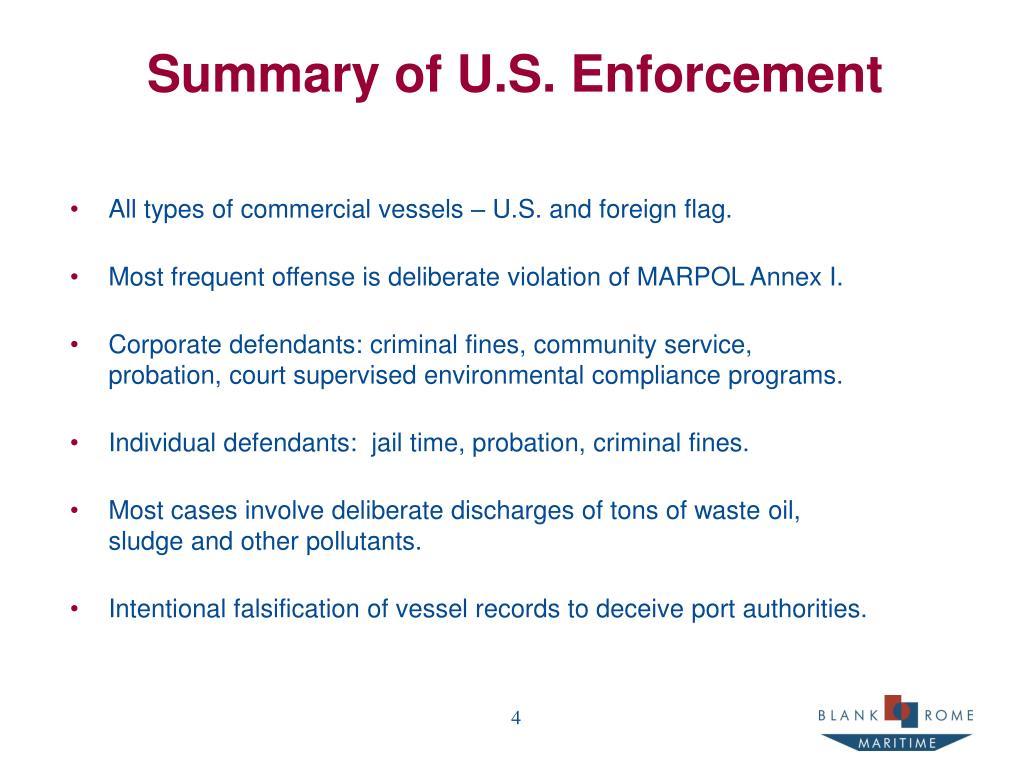 Summary of U.S. Enforcement