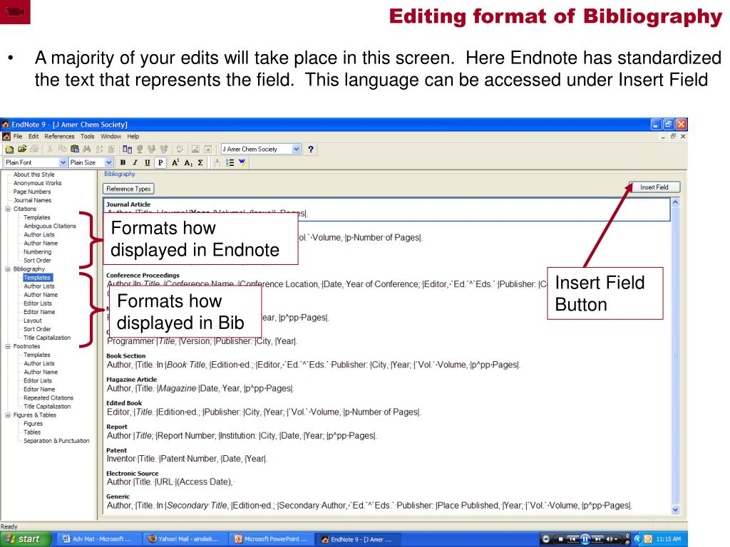 Editing format of Bibliography