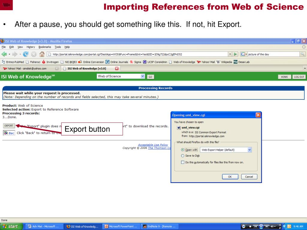 Importing References from Web of Science