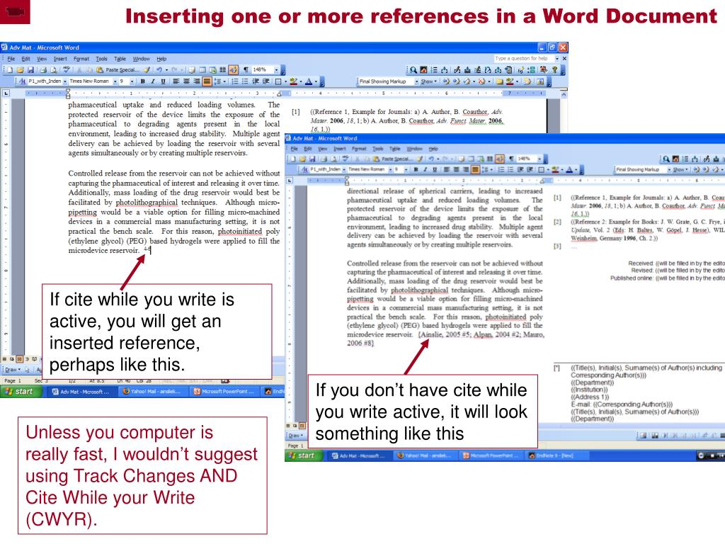 Inserting one or more references in a Word Document