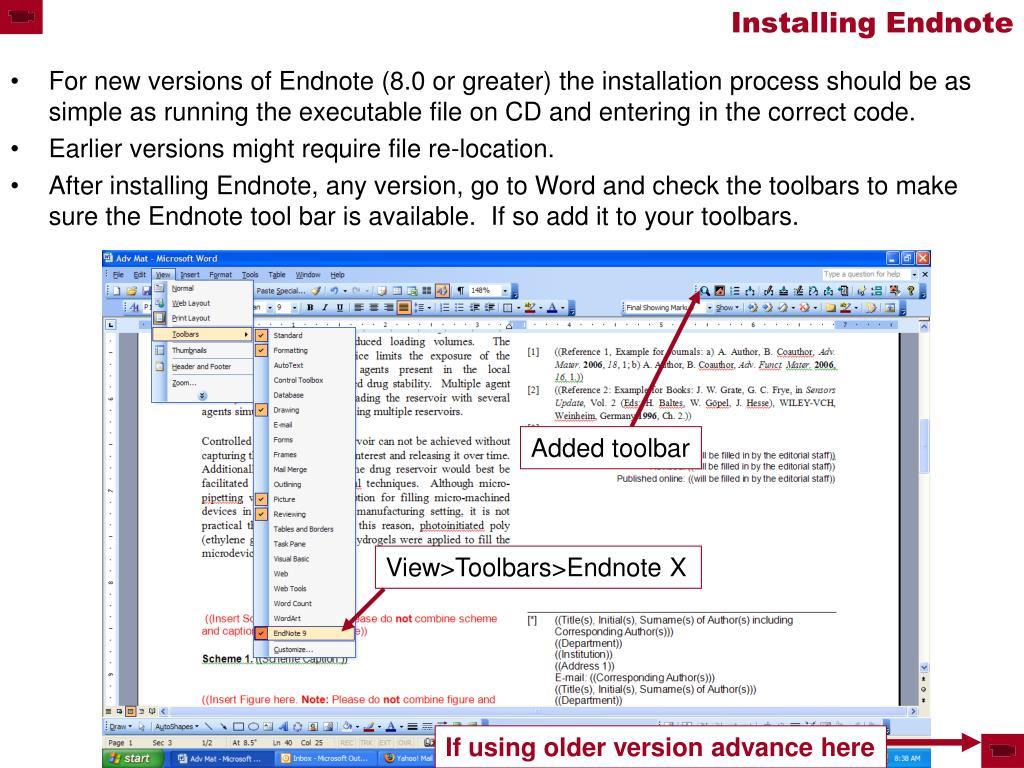 Installing Endnote