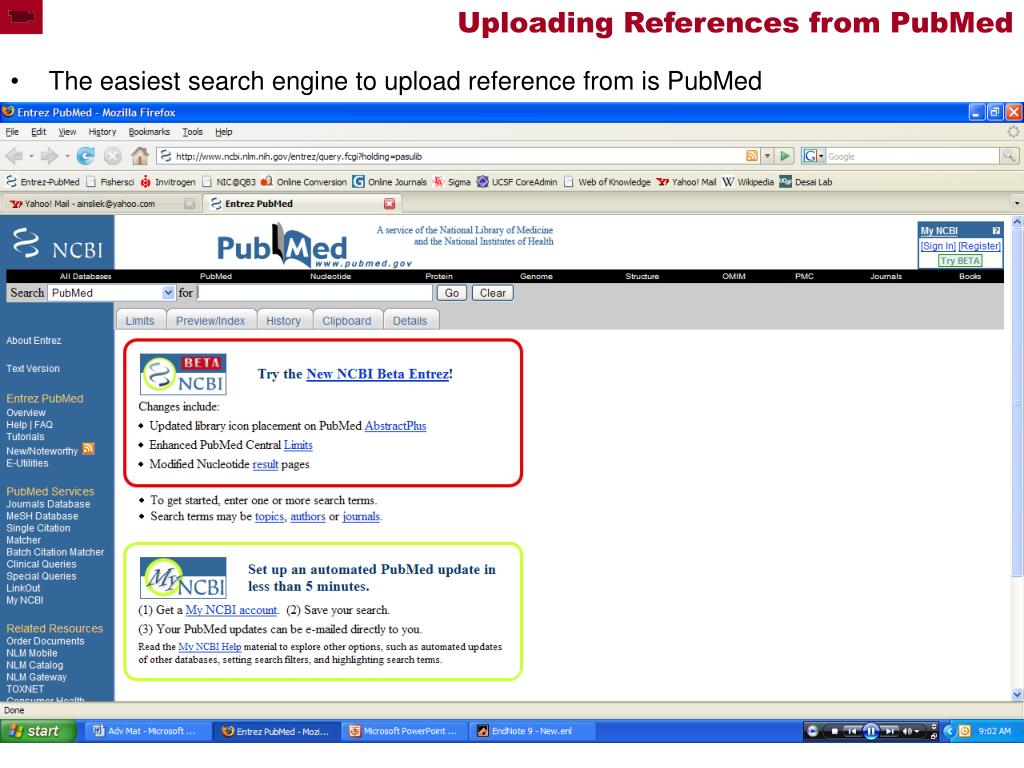 Uploading References from PubMed