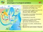 advantages of ecological sanitation