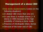 management of a stone cbd