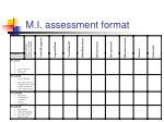 m i assessment format