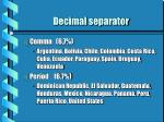 decimal separator