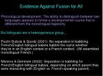 evidence against fusion for all50