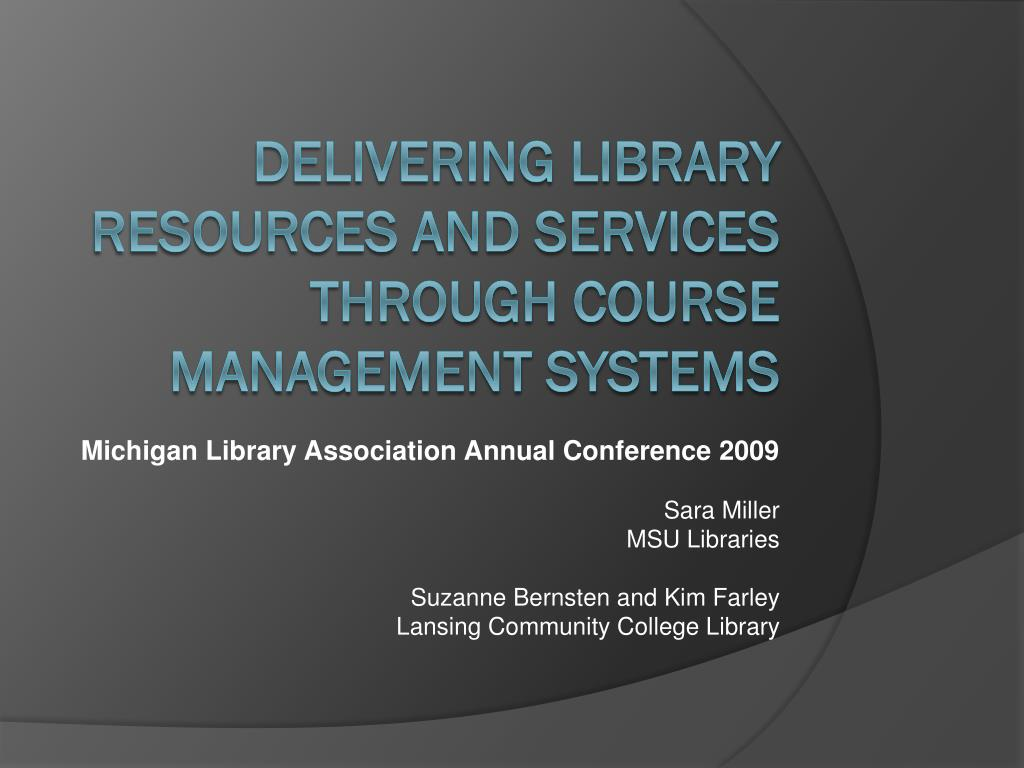 delivering library resources and services through course management systems l.