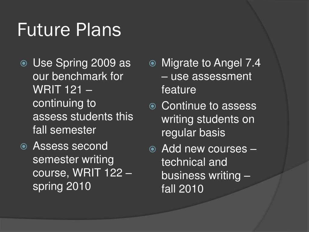 Use Spring 2009 as our benchmark for WRIT 121 – continuing to  assess students this fall semester